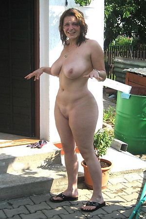 Nudist moms doing a naked gardening
