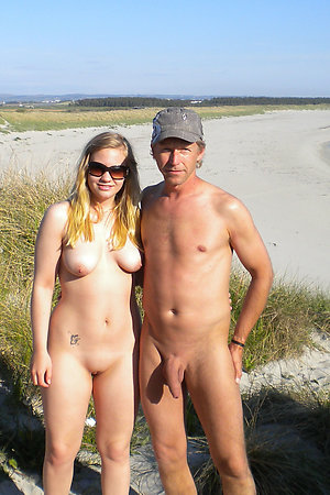 Lucky old nudist man with his young girlfriend