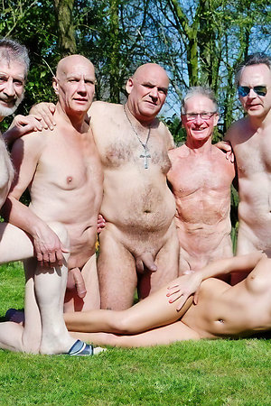 Older nudist men with younger nudist girls