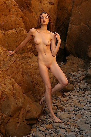 shapely female nude chicks completely undresses against a sea background
