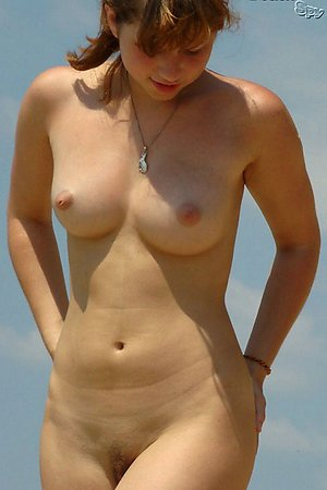 Nude pussy of naked nudist girl - series of shots