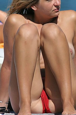 Tempting Barefaced Panties on a beach