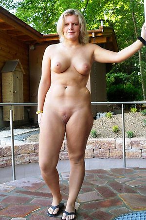 Happy nudist older ladies fully naked outdoors