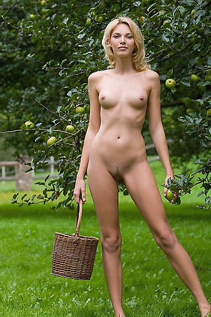 Innocent and seductive teens collecting apples