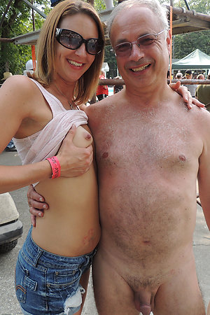Older men with younger girls, both are nudists