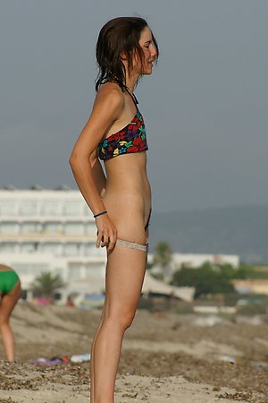 Many of the nudist pretty woman, tanned body, small tits at nudist beach