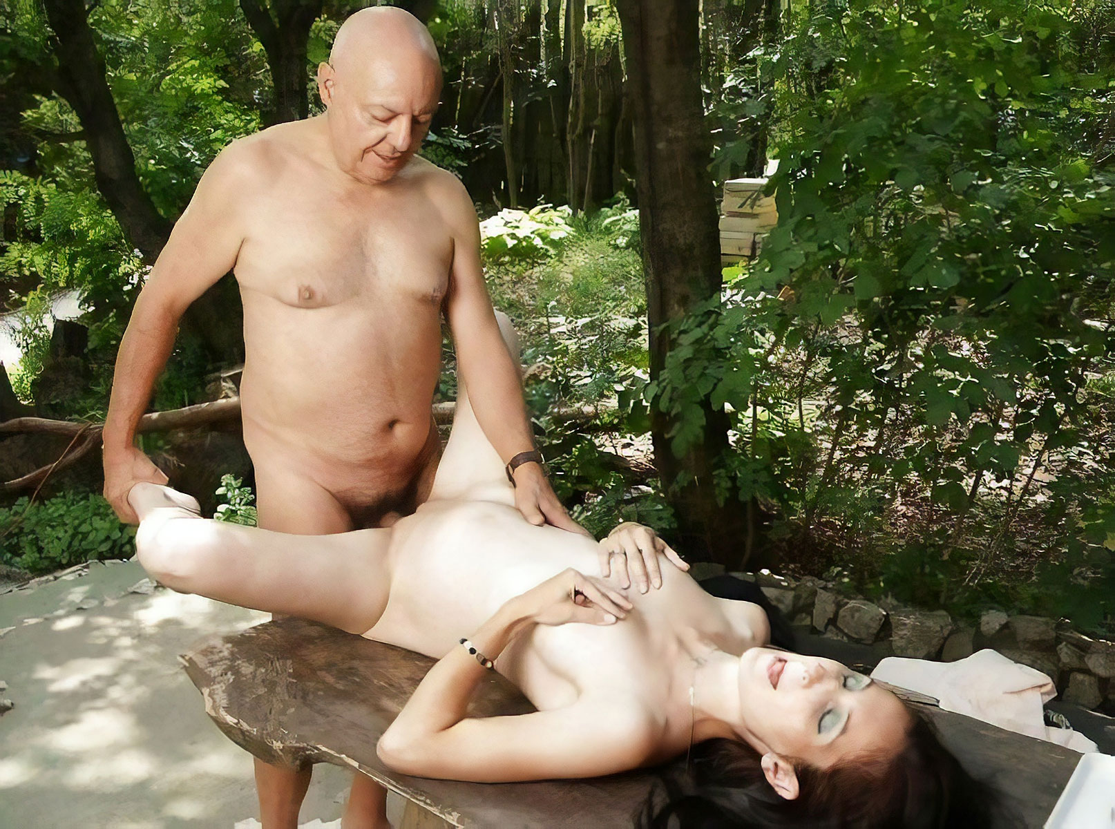 Naked Teen Girl Gives A Really Old Man A Ball Licking Blowjob